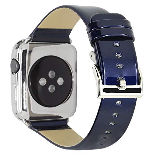 (CRAZY PANDA Leather Band for Apple Watch Band 38mm 40mm, Genuine Leather Shiny Bling Glitter Strap Compatible Apple Watch Series 4 3 2 1 - Navy)