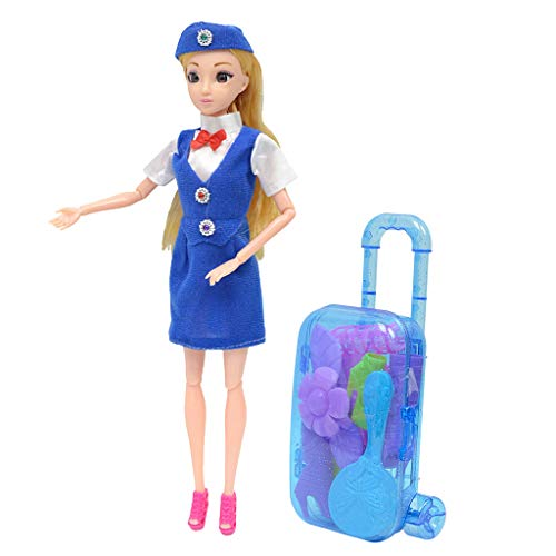 D DOLITY 11.5 Inch Blue Uniform Flight Attendant Airline Stewardess Doll Toy Set for Girls Gift