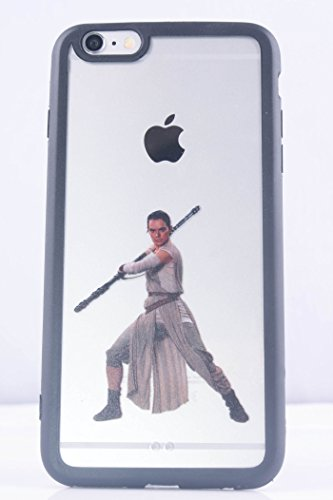 (6 (4.7)-Rey-Clear Black) ROXX Star Wars iPhone 6/6s 4.7 Clear Black Bumper Case