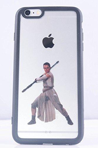 (6 (4.7)-Rey-Clear Black) ROXX Star Wars iPhone 6/6s 4.7 Clear Black Bumper Case