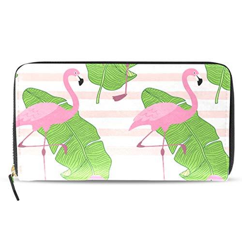 Womens Long Zipper Wallet Flamingos Tropical Banana Leaves Ladies Clutch Purse