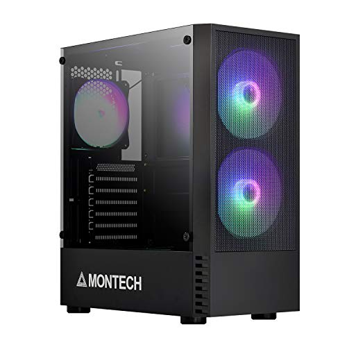 Montech X2 MESH Black ATX Mid-Tower Case/High Airflow, Fine Mesh Front Panel, Full Glass Side Panel, Pre-Installed 2 x 140mm, 1 x 120 mm Rainbow Led Fans2