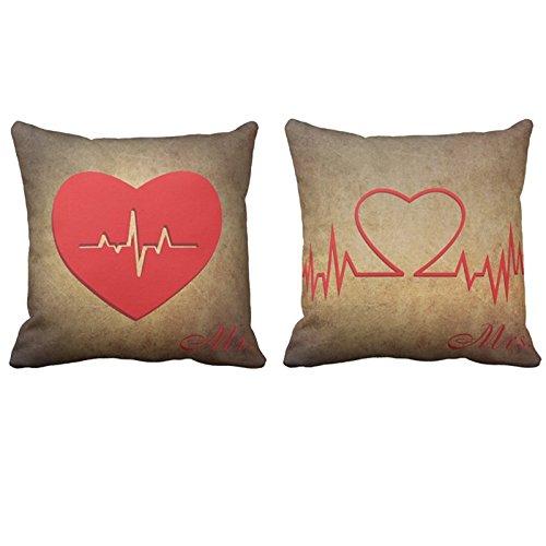 Decorbox Red Heartbeat Couple Mr&Mrs Pattern Set of 2 18x18 Inch Cotton Linen Square Throw Pillow Case Decorative Durable Cushion Home Decor Sofa Standard Size Accent Pillowcase Slip Cover Encasement