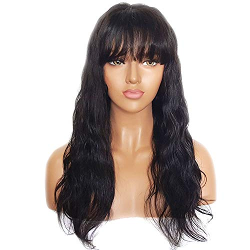 Wavy Lace Front Wig with Bangs Glueless Natural Brazilian Virgin Human Hair Wigs for Black Women, 20 Inches, Petite