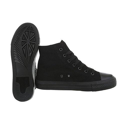 Chaussures Sneakers Ital Rl Mode Plat Baskets Espadrilles 672 Noir High Design Femme UWqO57