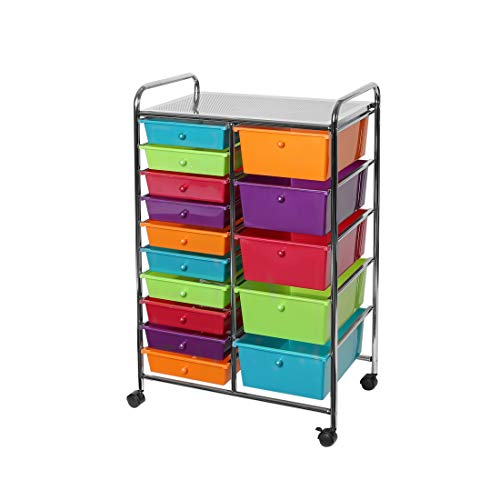 Seville Classics 15-Drawer Organizer Cart Pearlescent Multi-Color by Seville Classics (Image #2)