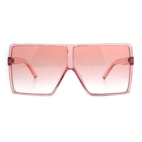 Womens Oversize Mobster Pop Color Rectangular Plastic Sunglasses - Mobster Sunglasses
