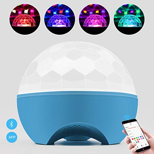 BETOPPER DJ Light Disco Magic Ball Party Lights with MP3 Player Remote Control RGBWOP 6 Colors LED Sound Activated Party Crystal Strobe Lights 6W DJ light for Home Parties Bar Christmas Wedding