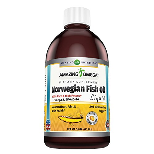 Amazing Omega Norwegian Fish Oil 16oz Fresh Orange - Supports Anti-inflammatory, Heart, Joint and Brain Health