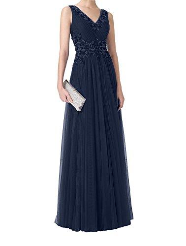 Damen Spitze Perlen Lang Navy Ballkleider Partykleider Abendkleider V mit Blau Charmant Blau Ausschnitt Royal dT6wFdqA