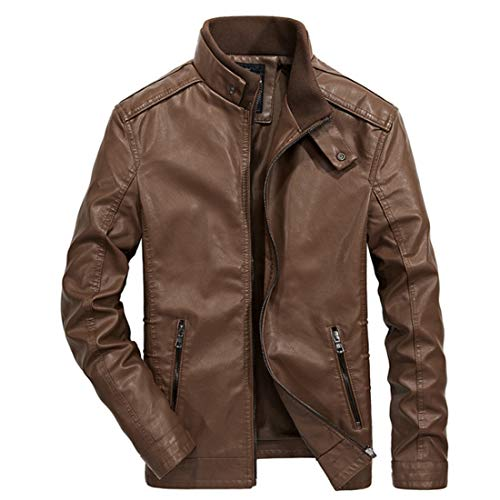 CT COUTUDI Men's Faux Fur Leather Jacket Stand Collar PU Motorcycle Coats
