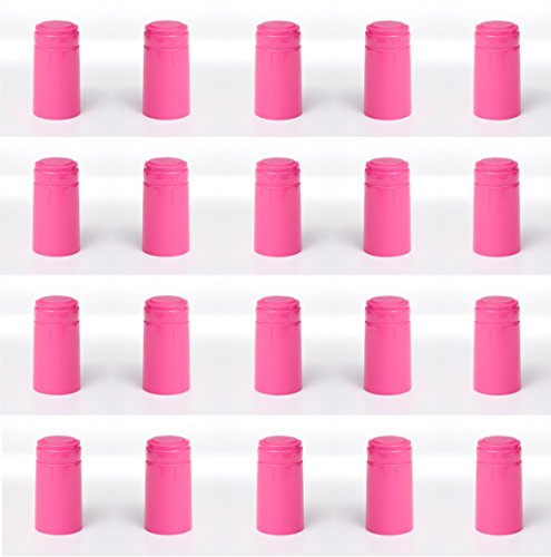 GLOSSY HOT PINK SHRINK CAPSULES 32 HEAT SHRINK CAPS FOR ALL STANDARD WINE BOTTLES 30X60 WITH PULL TAB