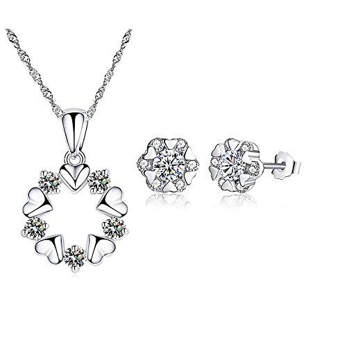 Majesto 925 Silver Heart Necklace Pendant Stud Earrings Jewelry Bridal Sets for Women Teen Girls Prime Gift