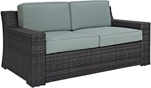 Crosley Furniture KO70102BR Beaufort Outdoor Wicker Loveseat, Brown with Mist Cushions (Patio Mist Loveseat)