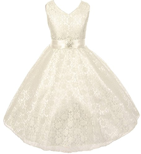 Big Girls' Lace Overlay Satin Brooch Flowers Girls Dresses Ivory Size -