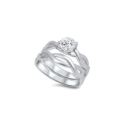 .925 Sterling Silver Celtic Unity Knot Cubic Zirconia Solitaire Wedding Ring (Celtic Wedding Ring Sets)