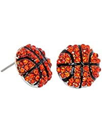 Sports Fan Simulated Rhinestone Stud Earrings-Basketball,Baseball,Football,Soccer,Tennis,Vollyball,Softball
