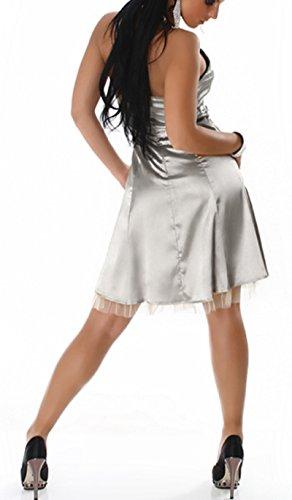 Larella Damen Kleid Minikleid Cocktailkleid Neckholder Abendkleid Petticoat Grau Silber Strass steine