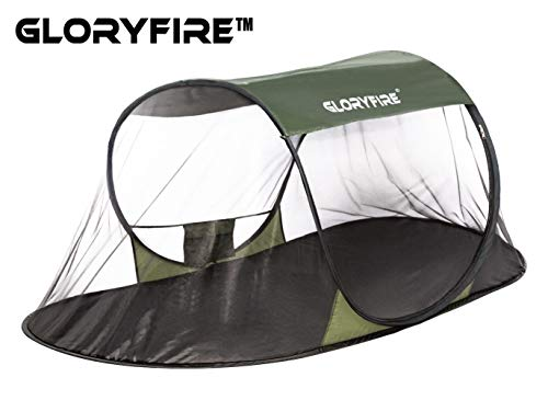 GLORYFIRE Camping Mosquito Net Four Corners Enhanced Tactical Mosquito Net Outdoor Mosquito Net Bar Olive Drab (Pop-Up Mosquito Tent) - Mosquito Net Bar