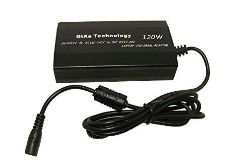 GiXa Technology 120W Universal Ladegerät inklusiv Auto / KFZ Ladekabel und integrierten USB Anschluss Netzteil für LITEON TOSHIBA SONY HP Laptop mit Aluminium Gehäuse