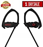 SENSO Stealth Bluetooth Headphones, Wireless Earphones with Mic, IPX4 Sweatproof HD Stereo with Bass Secure Fit Earbuds for Gym Running Workout Sports Headsets