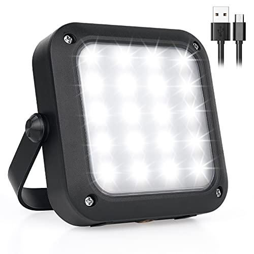 Tragbarer LED Arbeitsscheinwerfer, FUJIWAY Wiederaufladbares Outdoor Flutlicht Campinglampe mit Batterie, 5 Modi…