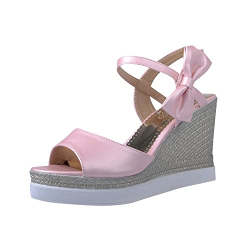 Elegance Toe Party Womens Sandals Buckle Peep Platform Bows Bridal Wedges Carolbar Pink Sweet nxZqcUOxR