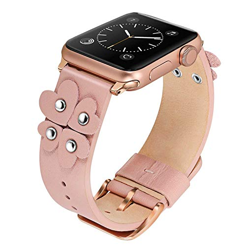 (TRUMiRR Bands Compatible Apple Watch Band 38mm 40mm Women Girls, Soft Genuine Leather Watchband Unique Heart Design Strap Female Cuff Bracelet for iWatch Watch Series 4 3 2 1 All Models, Pink)