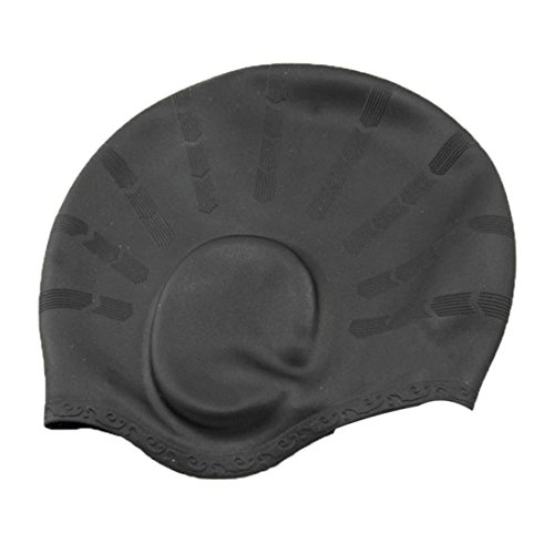 AMA(TM) Men Women Adult Silicone Waterproof Swim Cap Covers Ears Swimming Bathing Hat (Black)