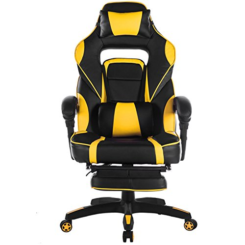 Merax Racing Office Chair Yellow and Black PU Leather Home Office Chair Computer Gaming Chair with Headrest and Lumbar Support (Yellow) (Desk Chairs Yellow)