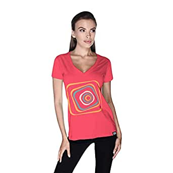 Creo Abstract 03 Retro T-Shirt For Women - M, Pink
