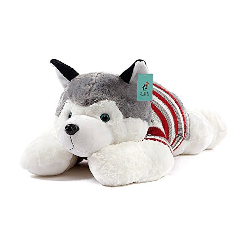 Ins Embroidery Lovely Cartoon Pretty Puppy Cute Husky Dog Stuffed Animals 3D Pom Plush Winter Warm Lambswool Soft Big Hugging Bolster Bed Nursery Decoration Baby Play Toy Sleeping Throw Pillow Gift ()
