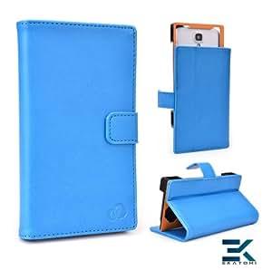 [Matrix] PU Leather Universal Book Folio Phone Cover fits HTC Desire 400 Case - BLUE. Bonus Ekatomi Screen Cleaner