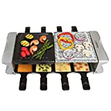 Cheap Dual Cheese Raclette Table Grill w Non-stick Grilling Plate and Cooking Stone- Deluxe 8 Person Electric Tabletop Cooker- Melt Cheese and Grill Meat and Vegetables at Once