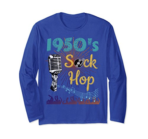 Unisex 1950's Sock Hop Dance Long Sleeve T-Shirt 1950 Fashion 2XL Royal Blue from 1950s Sock Hop Clothes & Gifts