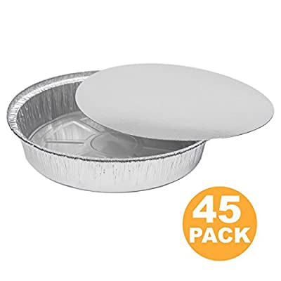 Round 9 Inch Disposable Aluminum Foil Pan Take Out Food Containers with Flat Board Lids, Steam Table Baking Pans