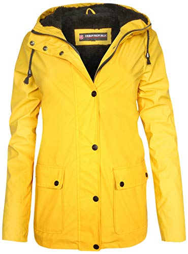 Urban Republic Ladies Hooded Vinyl Rain Jacket with Fur Lining, Yellow, X-Large'