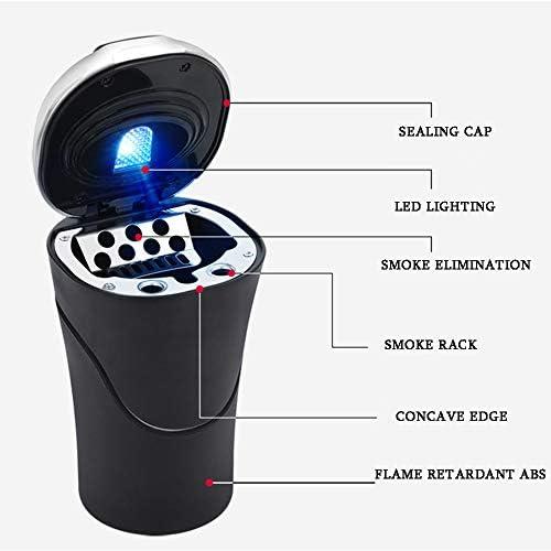 ほとんどの車のカップホルダーホームオフィスに適して蓋とLEDライトが付いている車の灰皿、自動車のシガーライター灰皿無煙、USB充電、,金