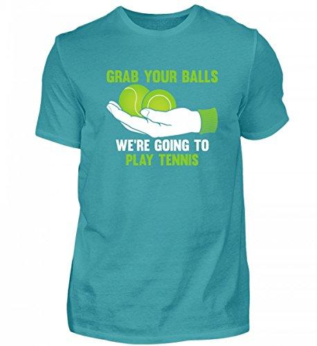 Hochwertiges Herren Shirt - Grab Your Balls Were Going to Play Tennis Poolblau