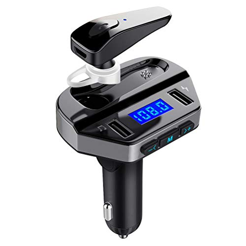 LUTU Bluetooth FM Transmitter for Car with Earphone, Wireless Radio Adapter in Car Kit with Hands Free Calling Headset, Support USB Flash Drive Music Player Dual Fast Charger