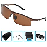 Men's women Polarized Sunglasses for Driving Fishing Golf Climbing(brown,clear)