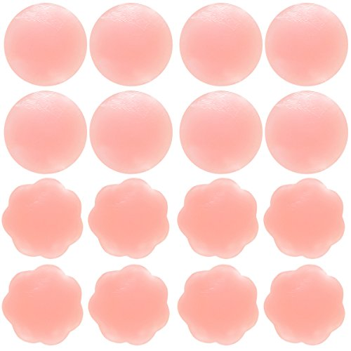 8e1ff5eded6 Senchanting Thin Reusable Adhesive Silicone Nipple Covers Breast Petals  Pasties (4 pair round+4