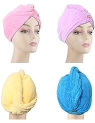 4 Pack Microfiber Hair Drying Towels, Fast Drying Hair Cap, Long Hair Wrap,Absorbent Twist Turban, Pink, Purple, Blue, Yellow