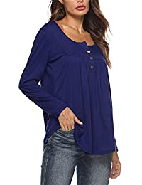 DOKER Womens Long Sleeve Button Henley Shirt V Neck Casual Loose Tunic Tops