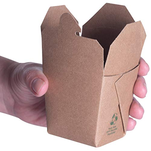 Microwavable Brown Chinese 8 oz Mini Take Out Boxes. 50 Pack by Avant Grub. Stackable Pails are Recyclable. Ideal Leak and Grease Resistant Half Pint to-Go Container for Restaurants and Food Service.
