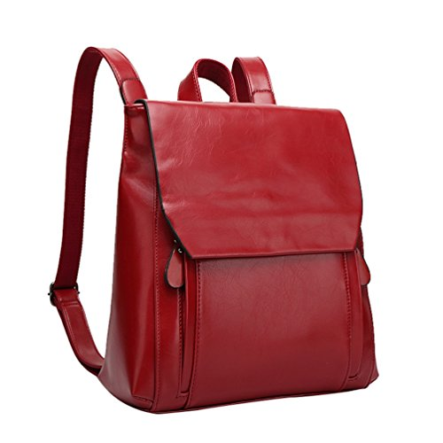 Yilianda Backpack Women's Handbags Ladies Pu Leather Backpack Waterproof Wash Bag Red Shoulder