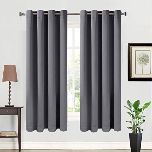 99% Blackout Curtains 2 Panels Thermal Insulated Grommets Drapes for Bedroom/Living Room 52 by 63 Inch, Dark Grey