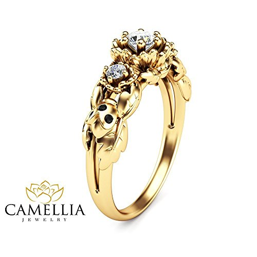 Yellow Ladybug Ring - 3 Stone Diamond Engagement Ring in 14K Yellow Gold Ladybug Design Ring with Black Diamonds