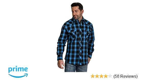 Wrangler Men/'s Advanced Comfort Cowboy Cut Black /& Blue Plaid Snap Shirt MACW15B