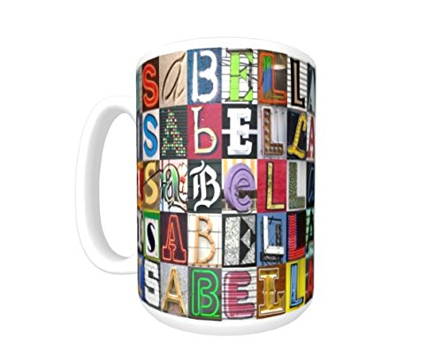 ISABELLA Coffee Mug / Cup - using photos of sign letters - personalized ()